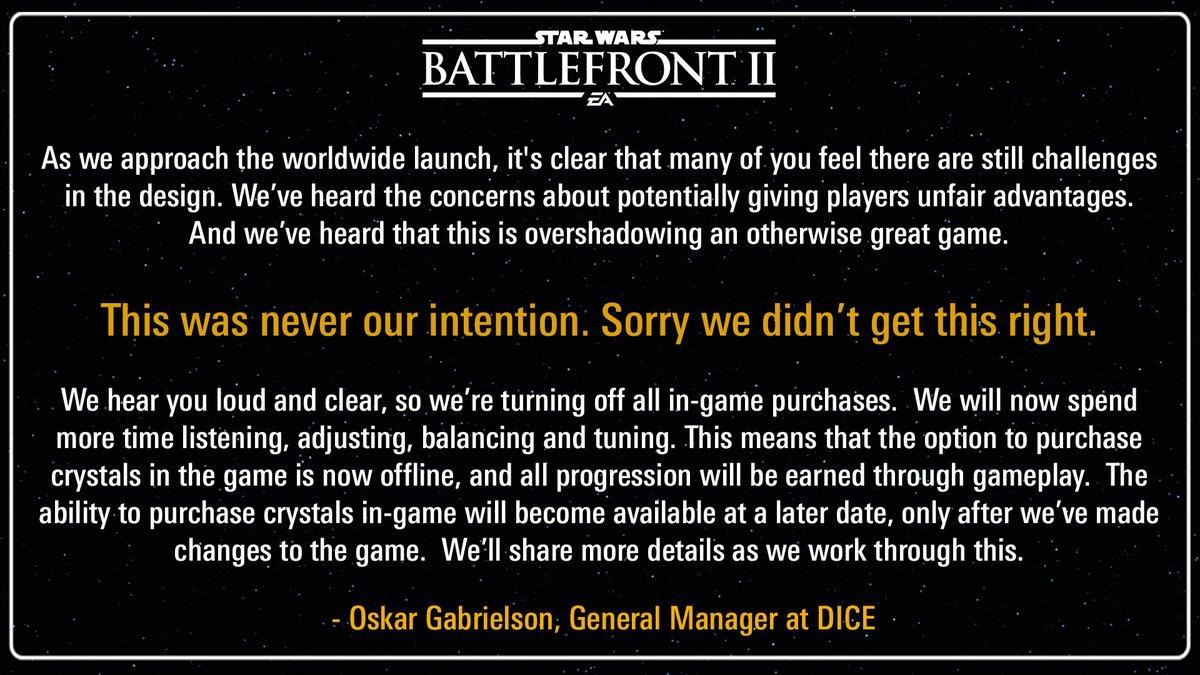 Hours Before Launch, Star Wars: Battlefront 2 Drops Microtransactions Temporarily