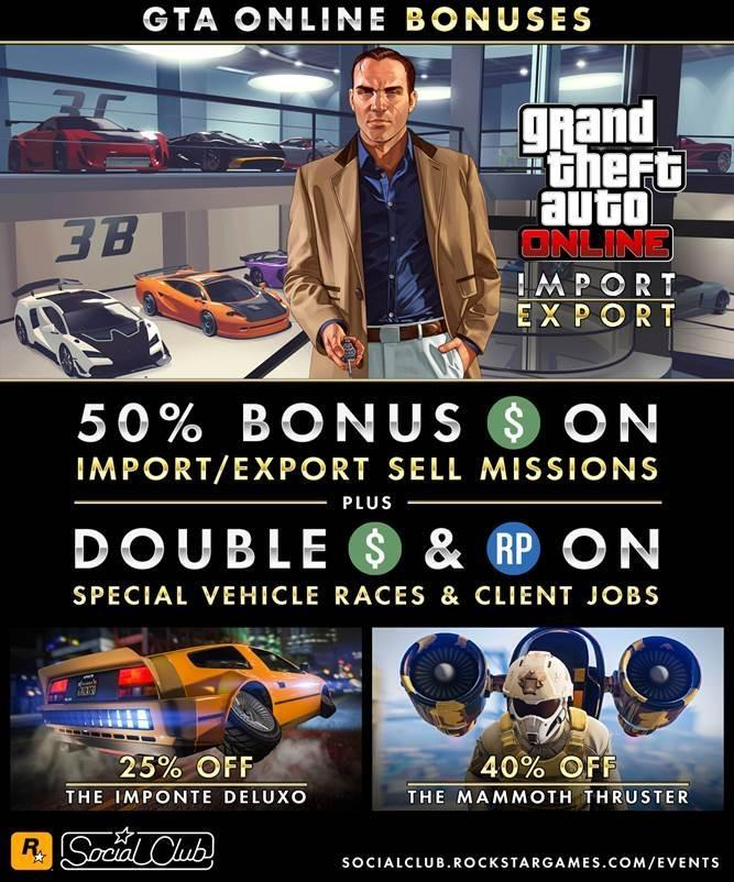 gta online import export sell missions yield 50 bonus gta xbox one xbox 360 news at. Black Bedroom Furniture Sets. Home Design Ideas