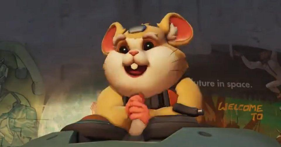 Overwatch Hammond is the new hamster hero, in a rolling mech suit