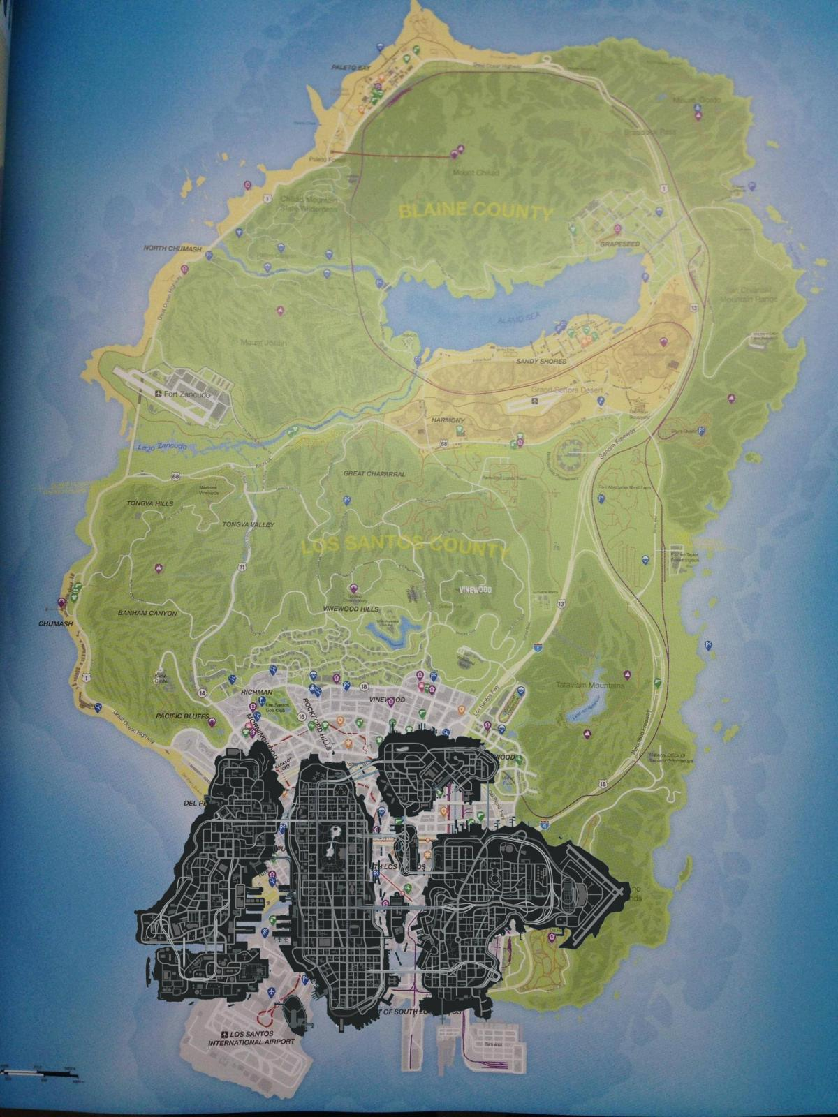 Mapa oficial de GTA V Gtaivandgtavmap