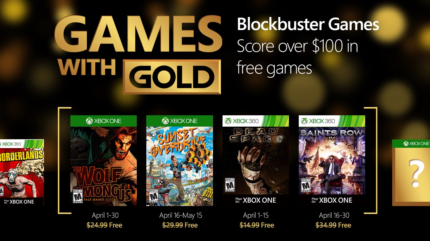 Xbox Games with Gold April 2016 sends message to Sony