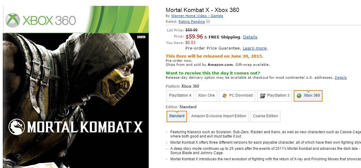 mortal kombat x delayed on xbox 360 and ps3 xbox one